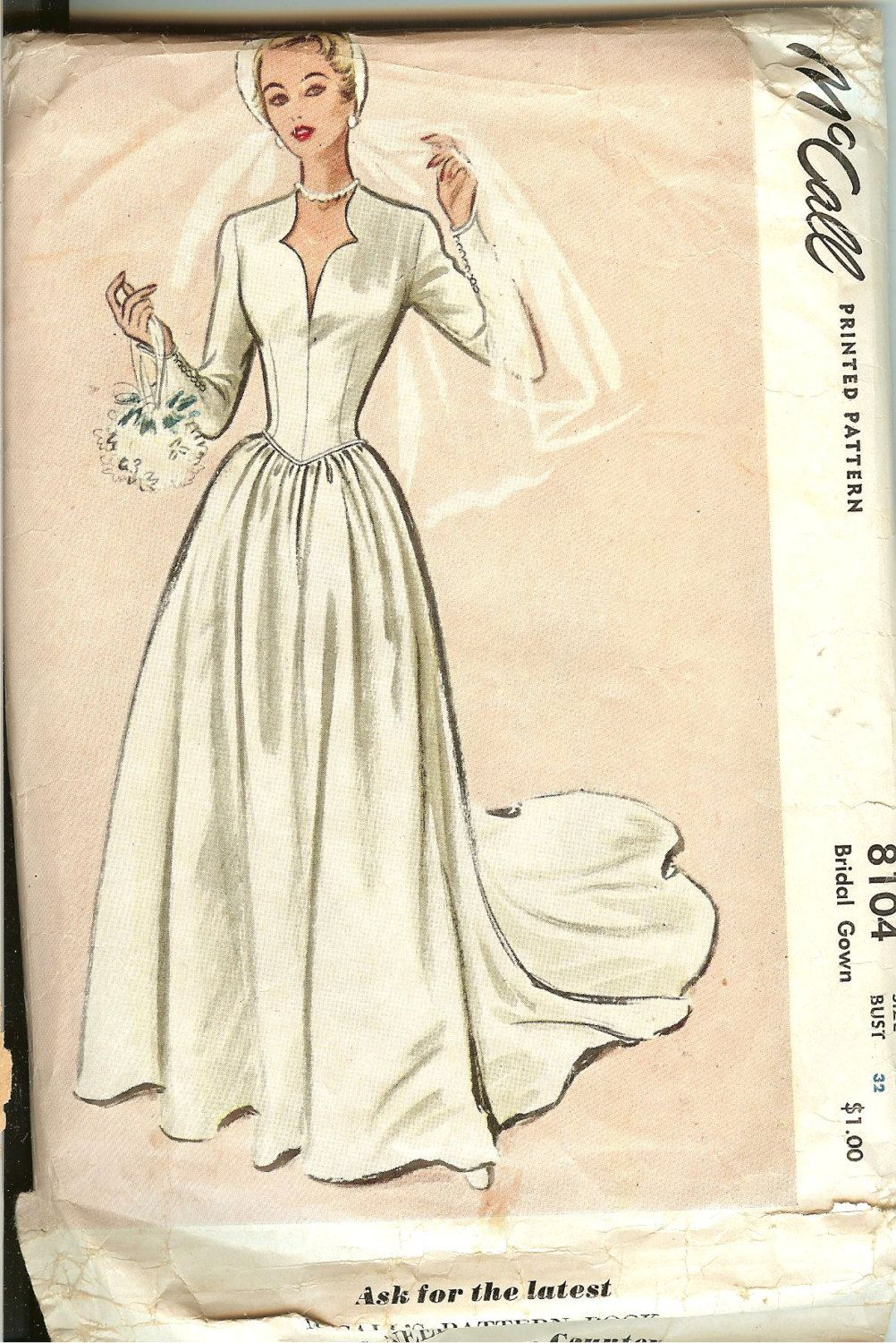 Vintage 1950 39 s mccall 39 s wedding gown pattern gowns for Mccall wedding dress patterns