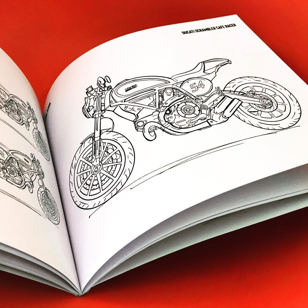 Interior Page Of The Cafe Racers Coloring Book A Sweet Scramblerducati Ready To Be Color Custom By Coloring Books Cafe Racer Color