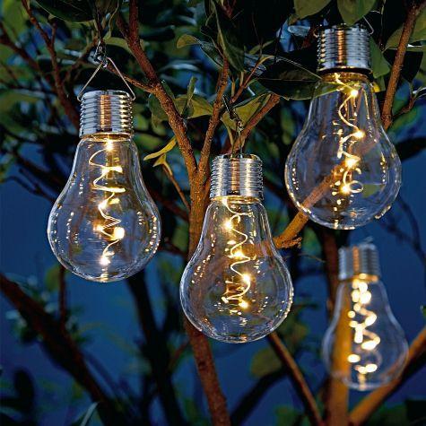 Wie eine normale Glühbirne gestaltet aber mit Solarpanel ...