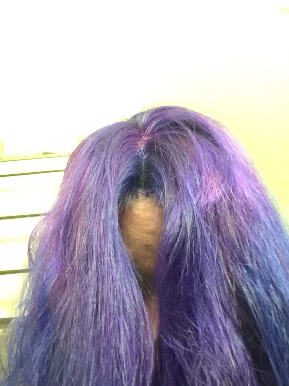 Hubby mixed 3 colors together. Ended up okay. Splat hair