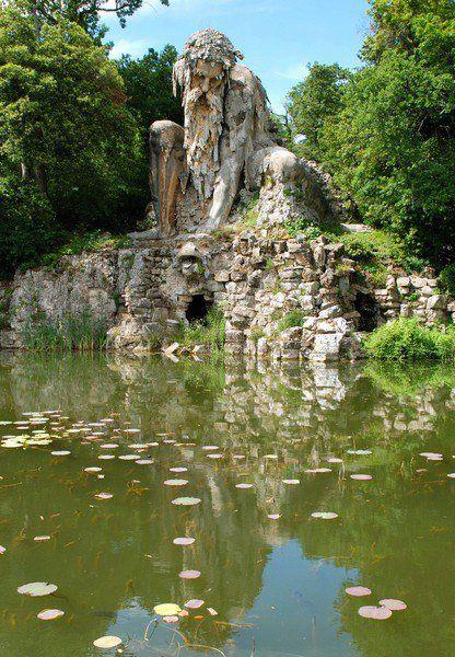 Statue known as the Apennine Colossus in garden of the Villa Demidoff di Pratolino, Tuscany, Italy
