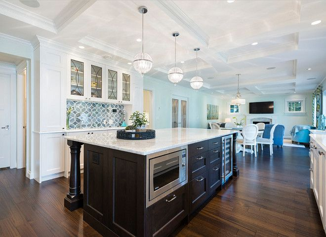 White Kitchen With Blue Gray Backsplash Tile Kitchen