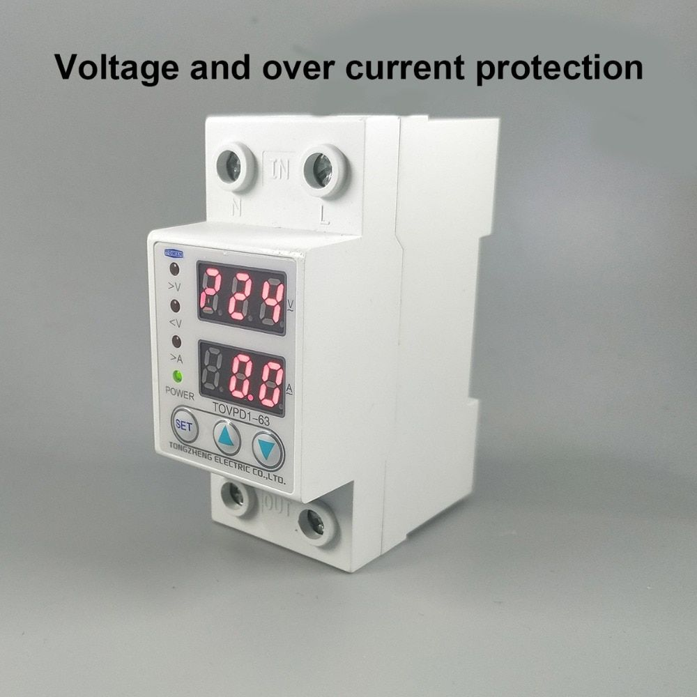 60a 230v Din Rail Adjustable Over Voltage And Under Voltage Protective Device Protector Relay With Over Current Prot Security Cameras For Home Protection Relay