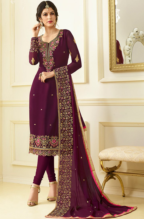 10ca41bfb1 Purple Designer Embroidered Georgette Churidar Suit – Saira's Boutique  Pakistani Wedding Outfits, Pakistani Dresses,