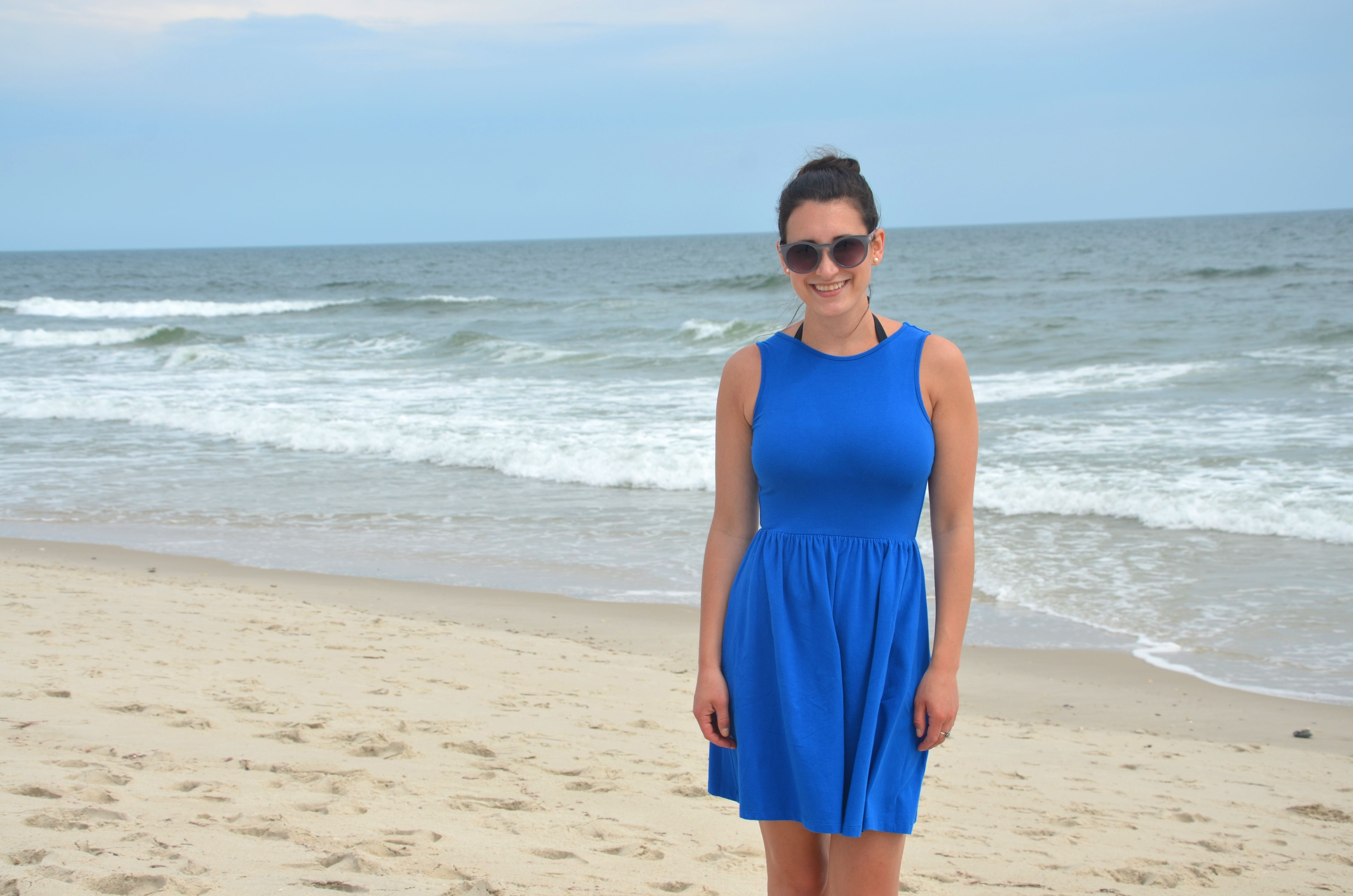 bright blue | asos cross back sundress