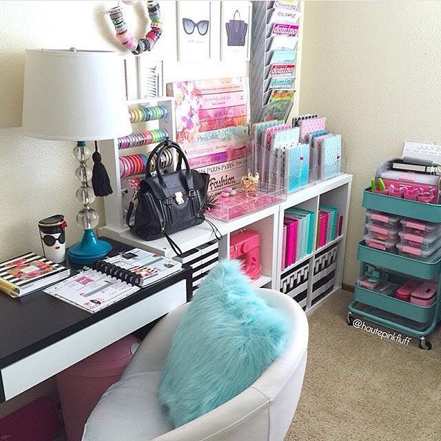 Repost from @hautepinkfluff Totally loving the hot pink and baby blue color scheme right now! Office inspiration! by allycialeeplans