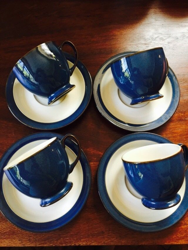 Denby Imperial Blue Cups and Saucers - Set of 4 & Denby Imperial Blue Cups and Saucers - Set of 4 | Blue cups