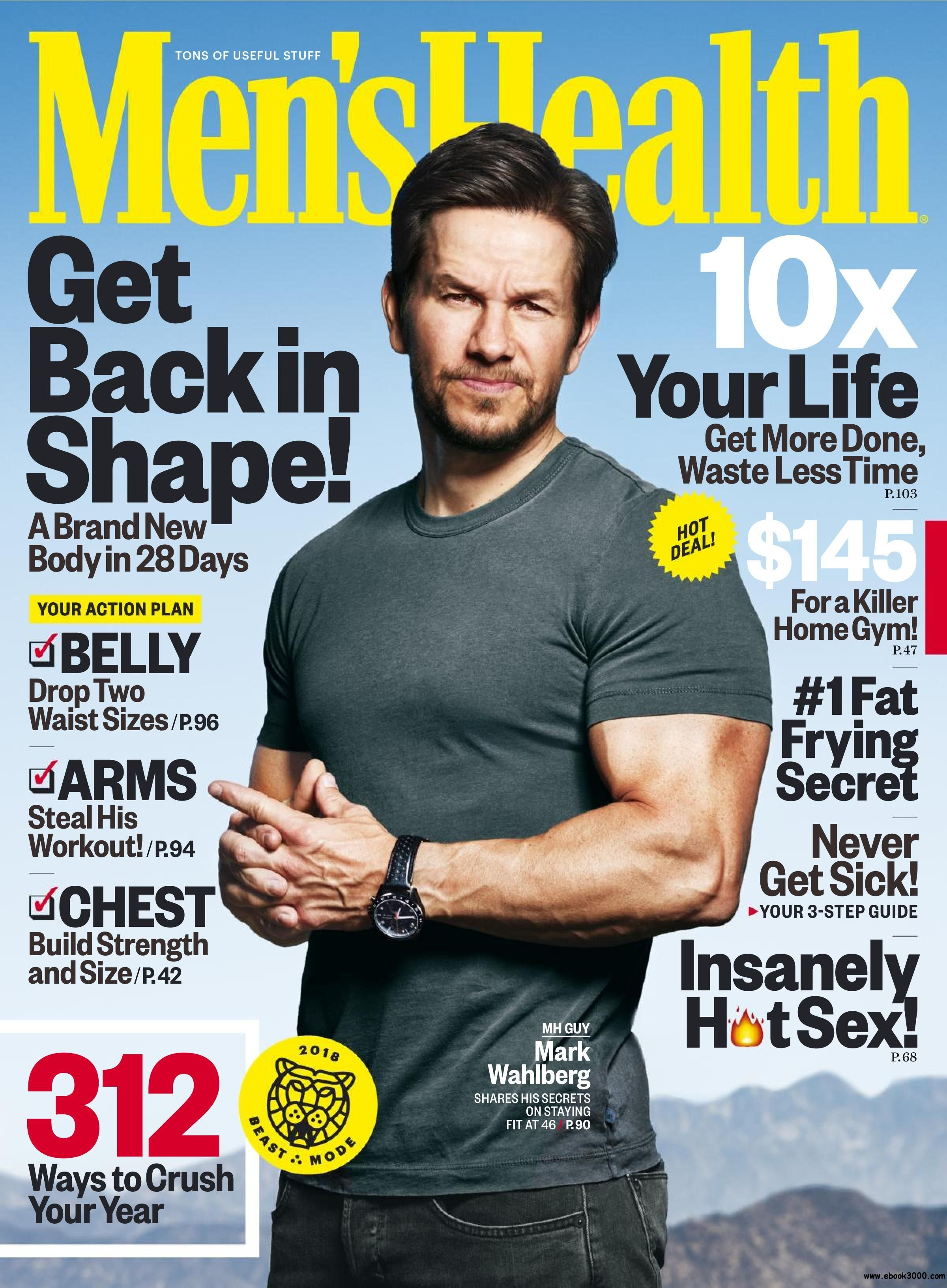 Mens Health USA  January 2018  Free eBooks Download  mark wahlberg magazine covers in 2019
