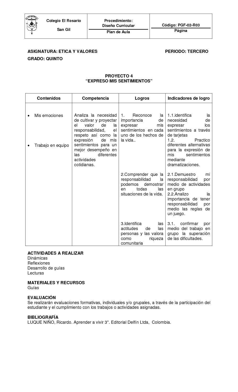 GRADO QUINTO CUARTO PERIODO   etica   Pinterest   Diseño curricular ...