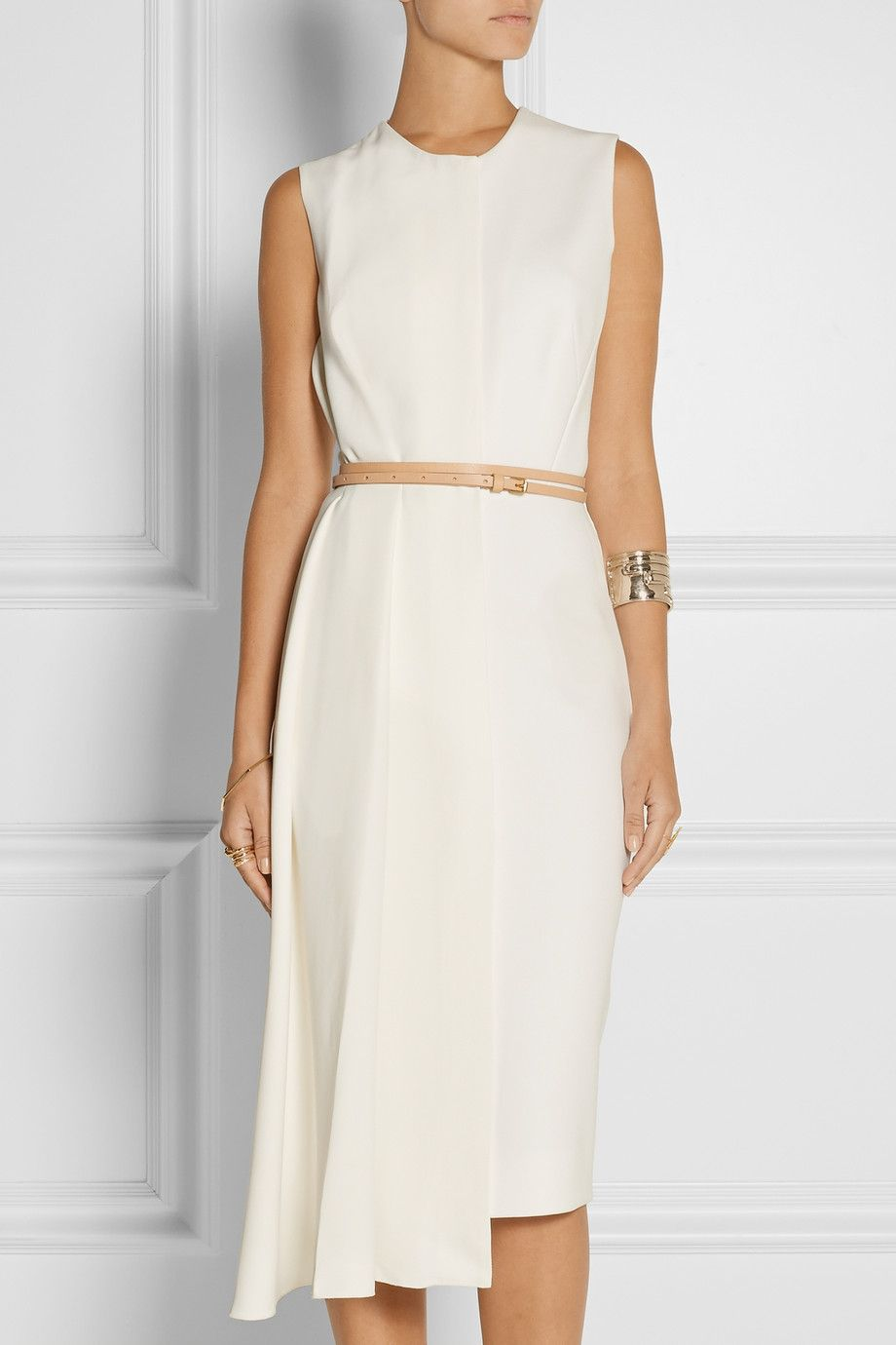 b67876050 Victoria Beckham | Belted stretch-crepe midi dress | NET-A-PORTER.COM