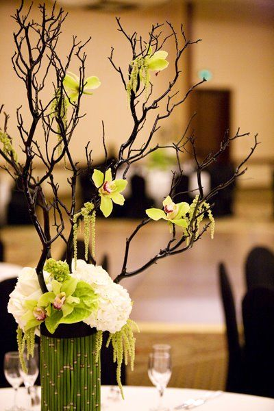 Each Of The Tall Centerpiece Vases Were Completely Wred In Horse Tail Reeds Every Piece Was Glued On By Hand