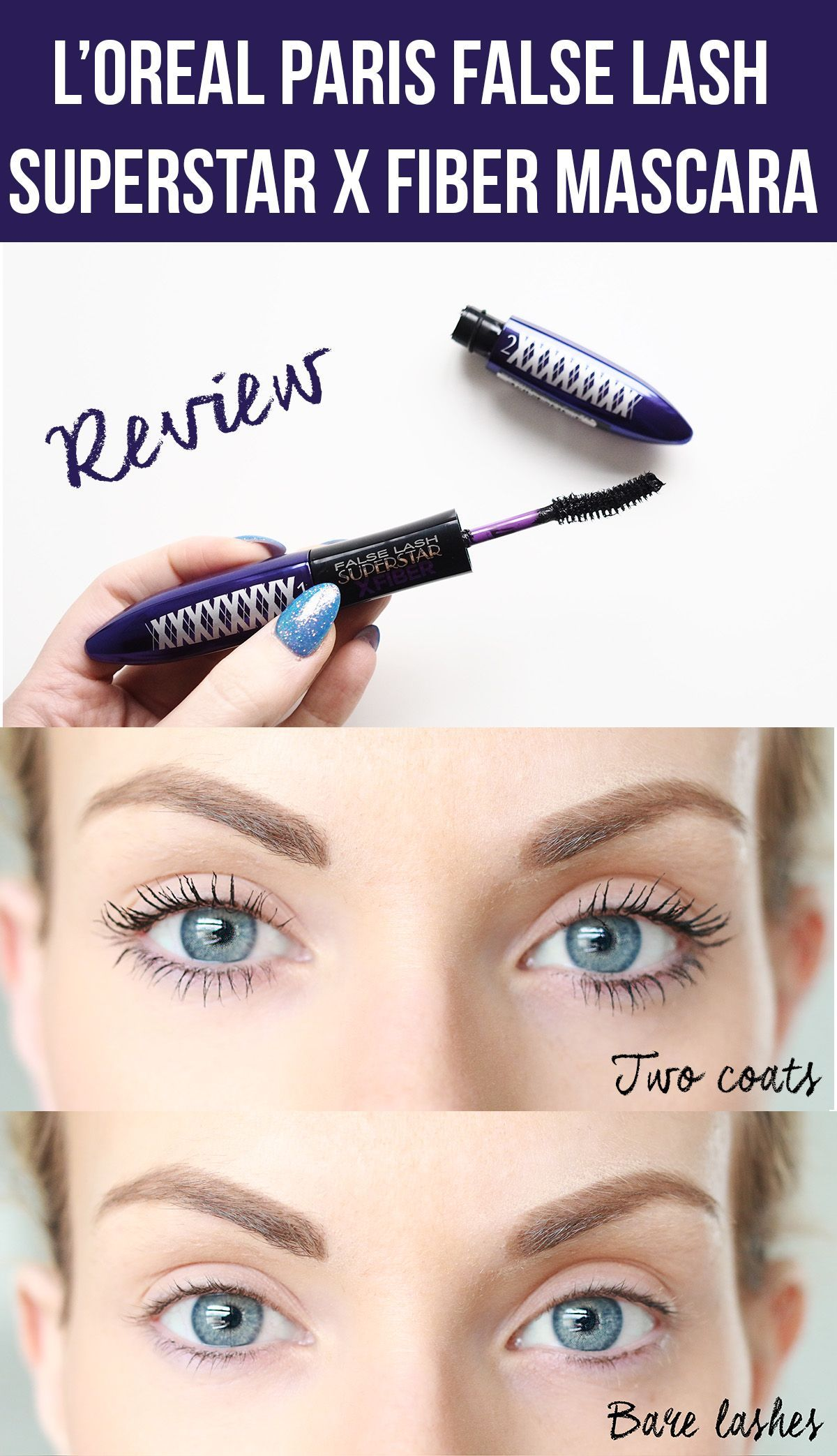 4209d086c77 L'Oreal Paris False Lash Superstar X Fiber Mascara Review Plus Before And  After Photos #ClumpyMascara