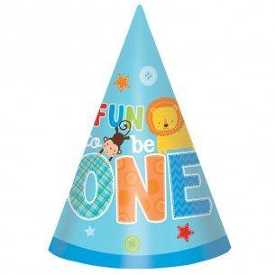 Wild At One Boy Party Hats