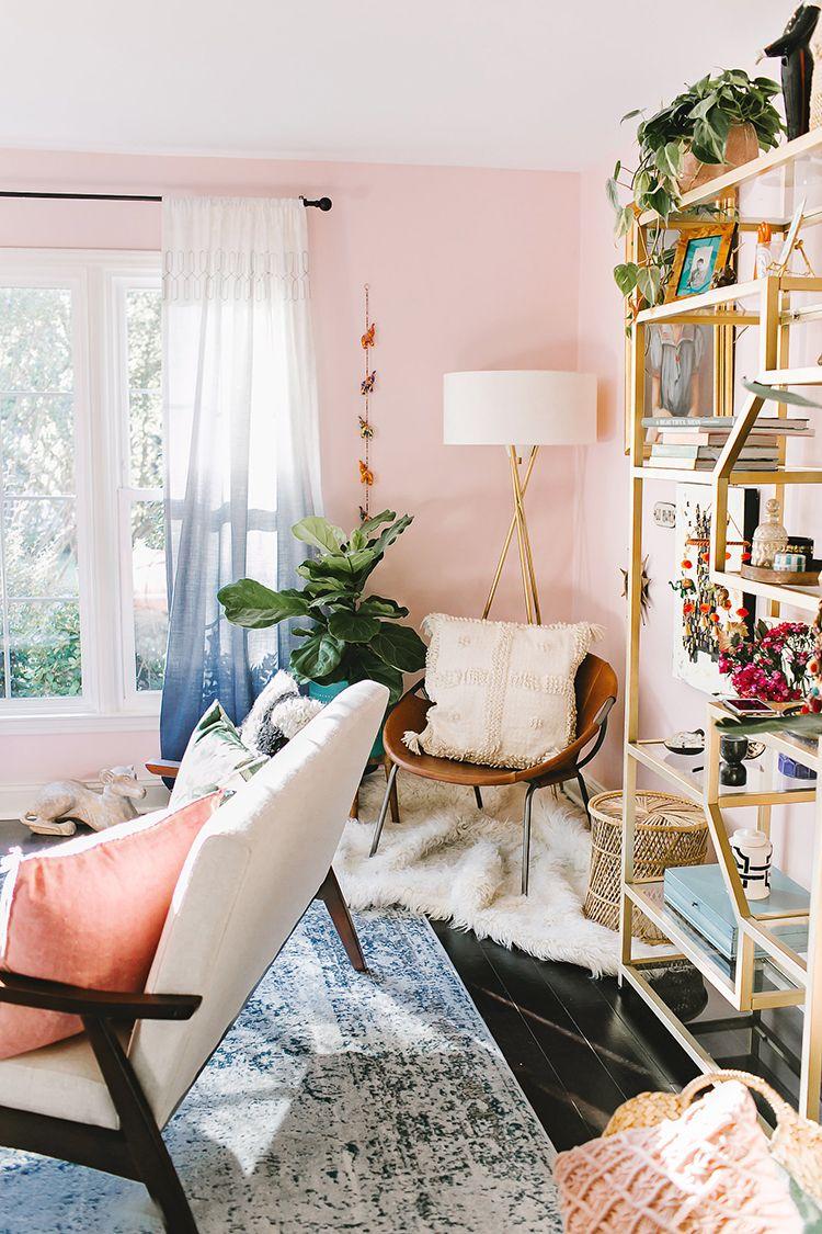 Jump Inside This Millennial Pink Living Room With Wayfair Ruffled Pink Living Room Boho Living Room Decor Pink Living Room Walls