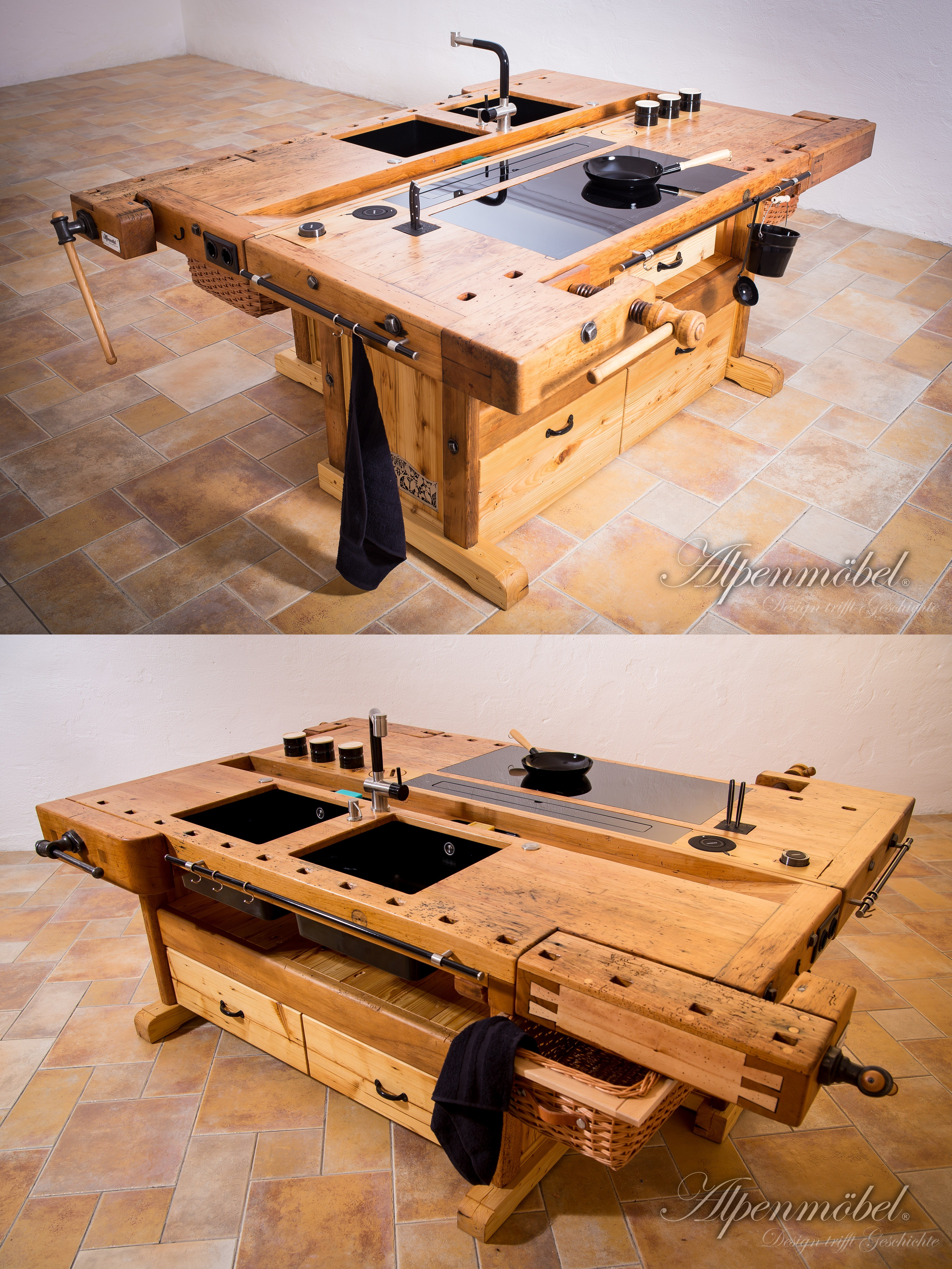 Arranged cooking island with two carpenters workbenches teilige