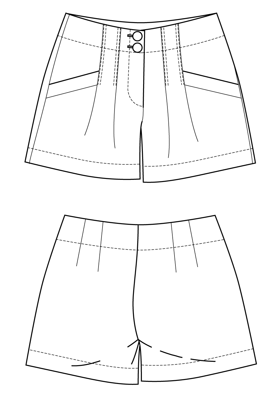 Panthea shorts flat drawing by Ralph Pink | Sewing patterns ...