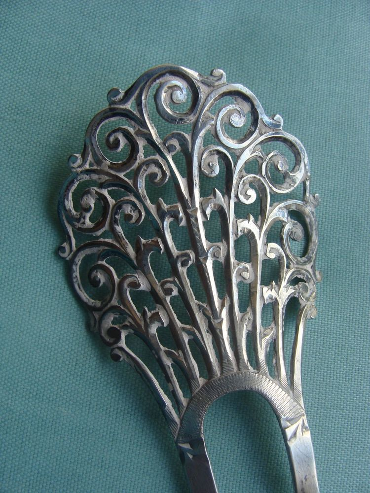 """Antique Sterling Silver Hair Ornament / Comb 5"""""""