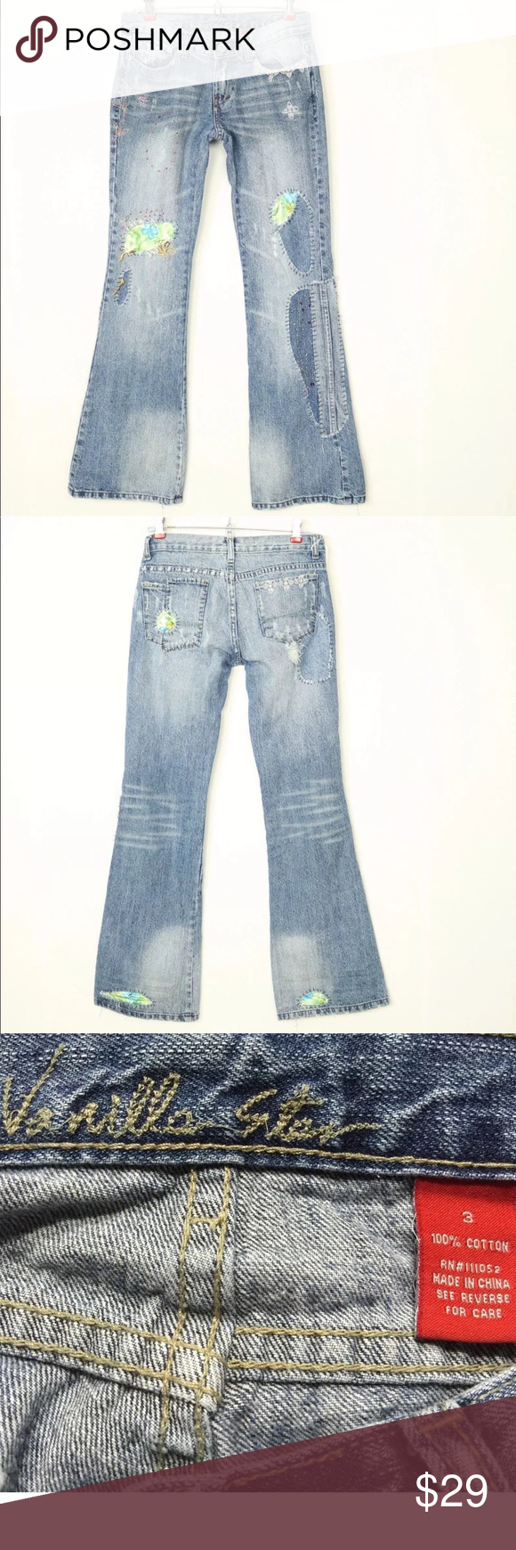 2e9f82b5baf Vanilla Star Jeans Bootcut 3 Patch Beaded Beaded Patchwork Embroidered  Distressed Button and zipper closure Good