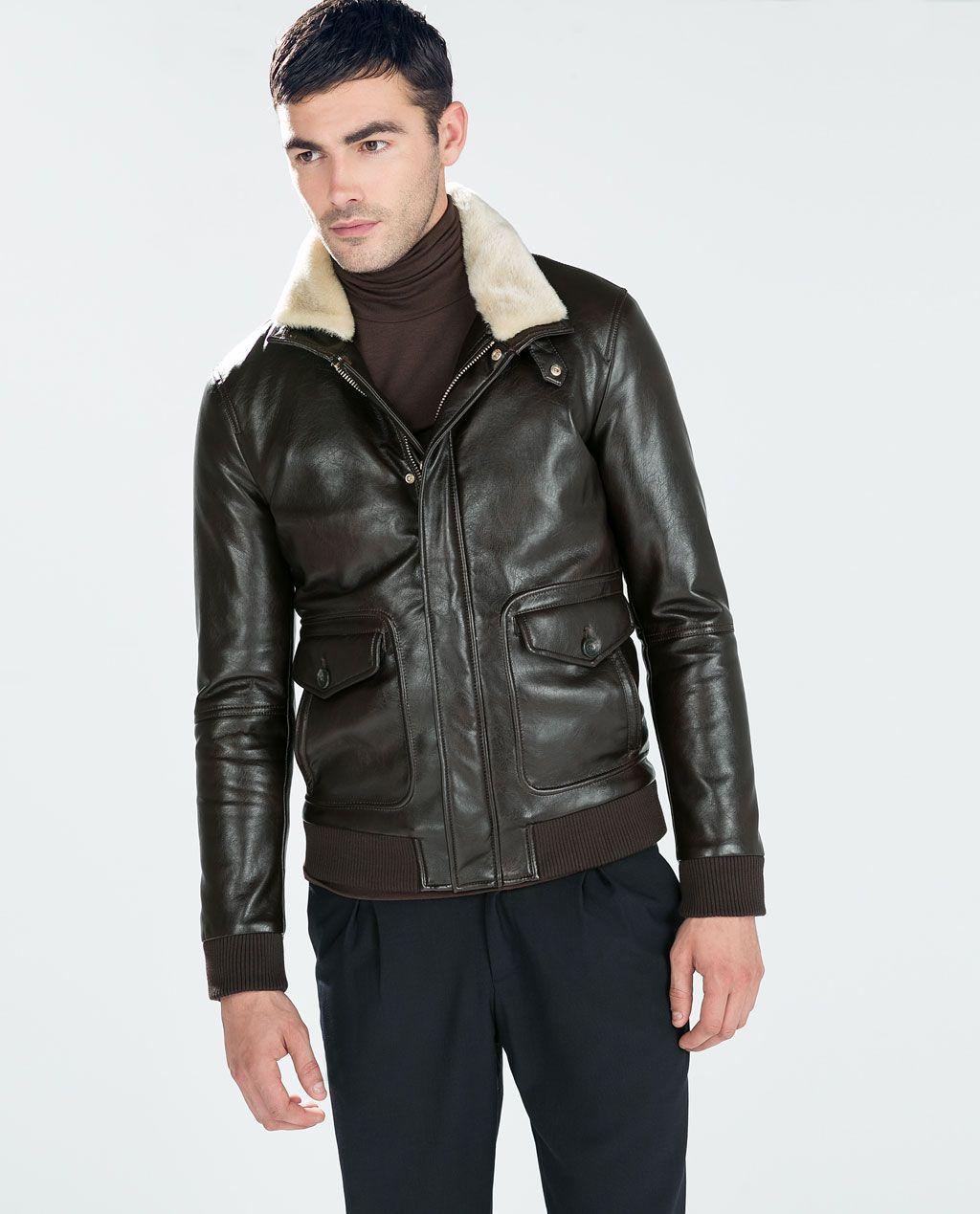 9acbc4587 ZARA - MAN - FAUX LEATHER JACKET | Style | Faux fur collar, Faux ...