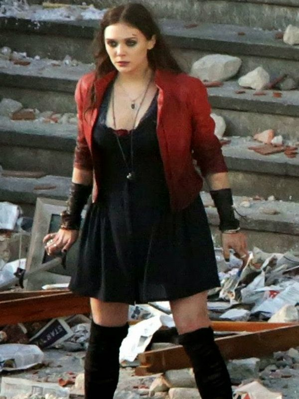 The Avengers 2 Elizabeth Olsen Scarlet Witch Jacket Scarlet Witch Costume Elizabeth Olsen Scarlet Witch Red Jacket