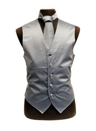 Men's Charcoal Satin Vests with Neck Tie - $29.99