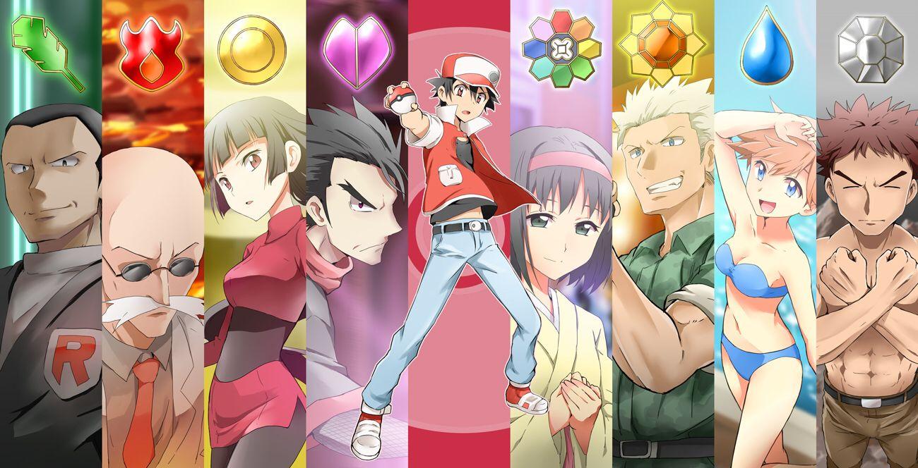 Red And Kanto Gym Leaders Pokemon Anime Pokemon Art
