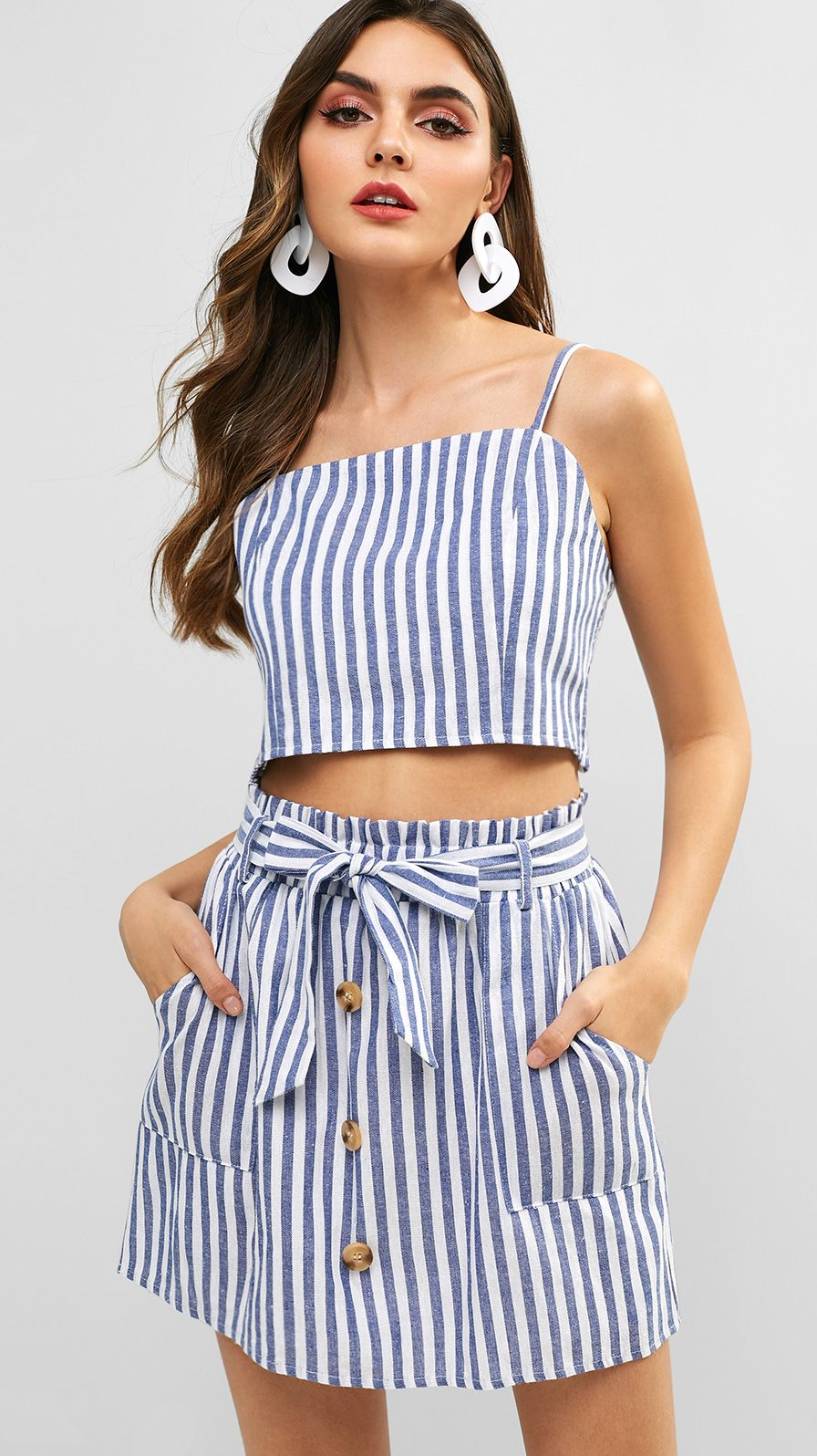 3388d50d Smocked Striped Top and Belted Skirt Set in 2019 | Two-piece skirts ...