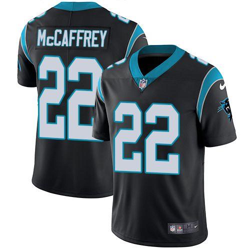 Nike Carolina Panthers Youth  22 Christian McCaffrey Limited Black Home Vapor  Untouchable NFL Jersey d8a439f61