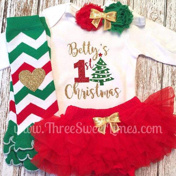 3c0bbc1f31a4 Personalized First Christmas Baby Outfit   My First Christmas   Babys First  Christmas   1st Christmas Baby Girl Gift Newborn Set Tutu ❤❤❤Thank you for  ...