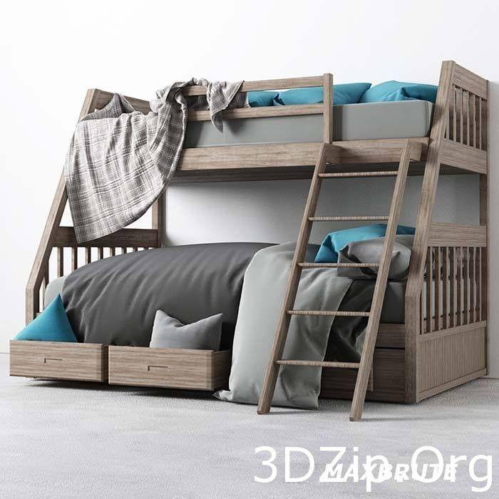 Best 3D Model Child Bed 1 Free Download Bedroomfurniture3Dsmax 400 x 300