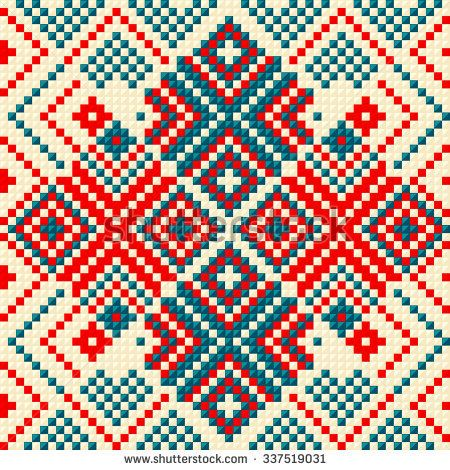 Trendy, contemporary ethnic seamless pattern, embroidery cross ...