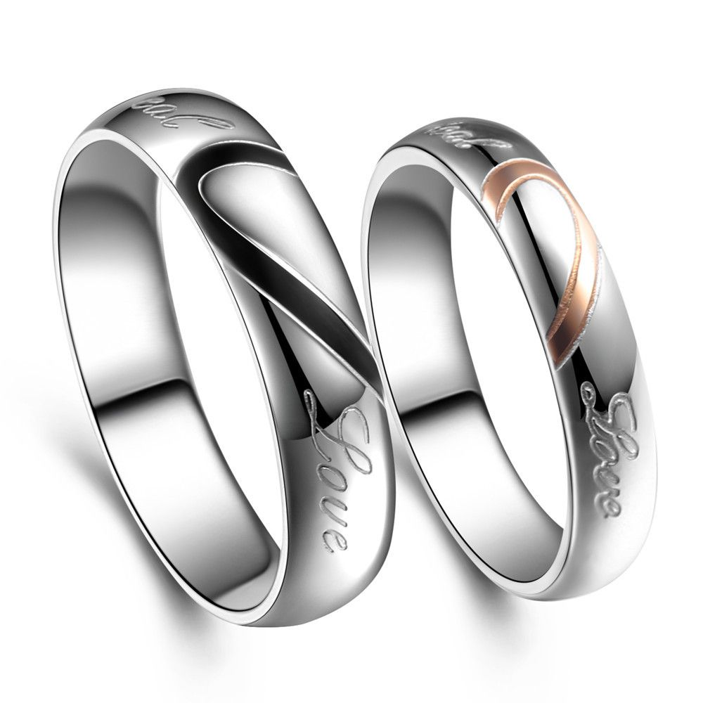 2 model Stainless Steel Silver Half Heart Simple Circle Real Love