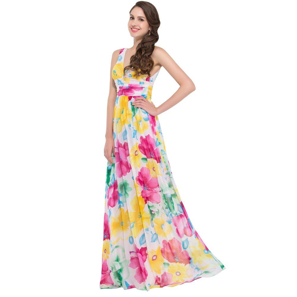 Beautiful-Long-Maxi-Dress-Double-V-Neck-Flower-Pattern-Floral-Print ...