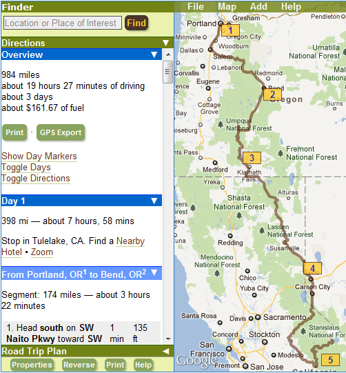 This trip planner helps you find sites along the way on your road ...