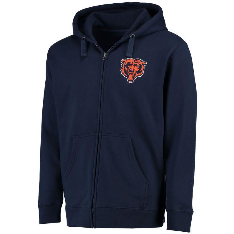 Chicago Bears NFL Pro Line Logo Midweight Full-Zip Hoodie - Navy