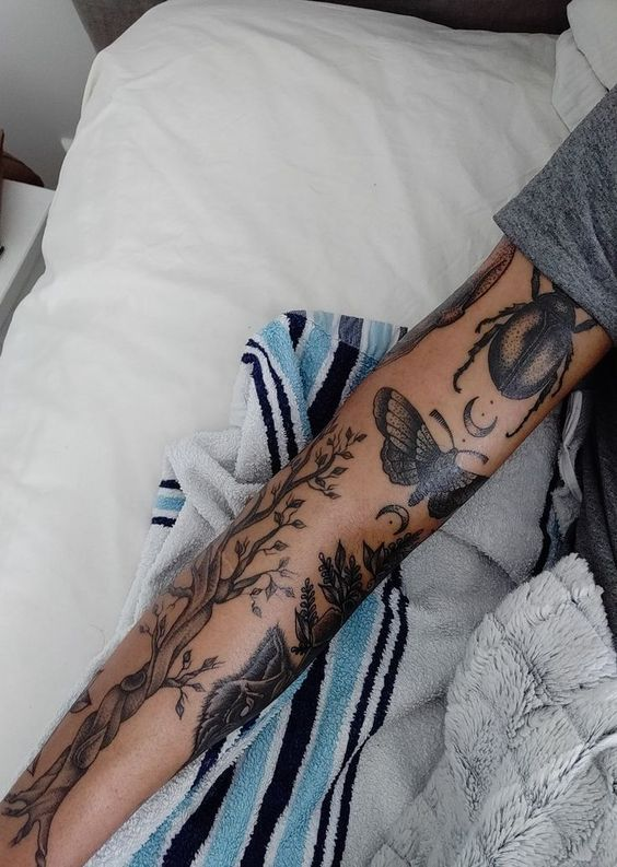 Natural Theme Tattoo Arm Sleeves #Arm # Sleeves #Nature Theme #Tattoo, #Arm # Sleeves …  #tattoossleeve - sleeve tattoos