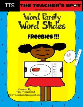 Meet Common Core Standards with Word Family Word Slides.  Great for literacy centers and small groups. Students will be able to: -blend sounds together-add different sounds to make a new word-distinguish between similar spelled words by identifying the sounds of the letters that differ-Blend and segment onsets and rimes of single-syllable spoken wordsInstructions:1.