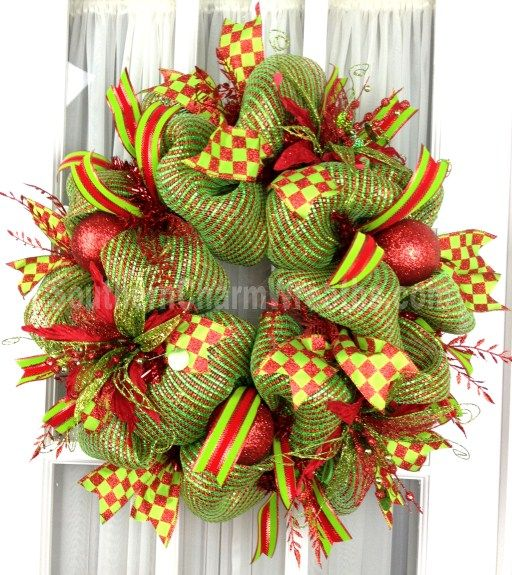 Deco Mesh Christmas Wreath Red Lime Green Stripe W Poinsettias Ribbons By Www Southernchar Deco Mesh Christmas Wreaths Christmas Mesh Wreaths Christmas Wreaths