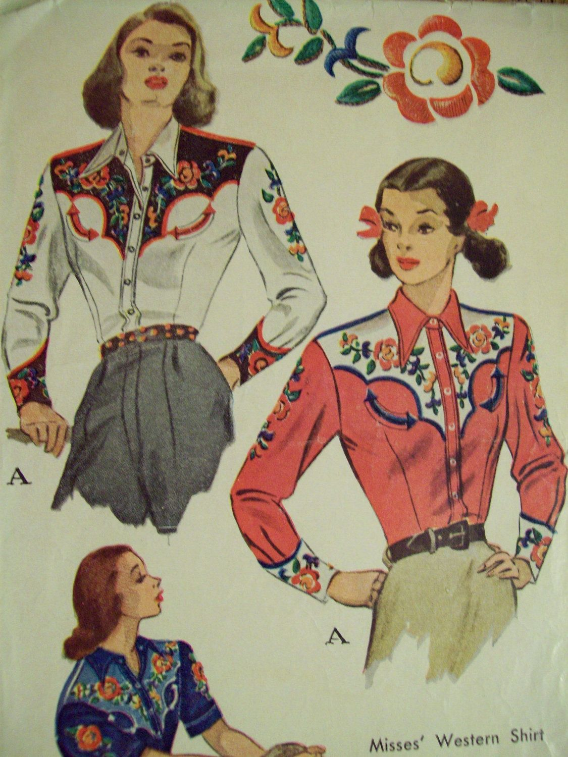 Western Shirt Patterns For Women's : western, shirt, patterns, women's, VINTAGE, Sewing, Pattern, Amazing, 1940's, Women's, Vintage, Western, Wear,, Western,, Cowgirl