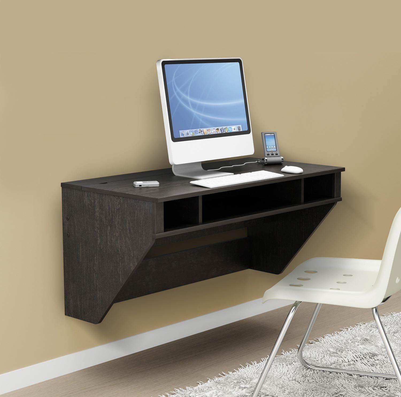 Prepac Designer Floating Desk Washed Ebony Floating Wall Desk