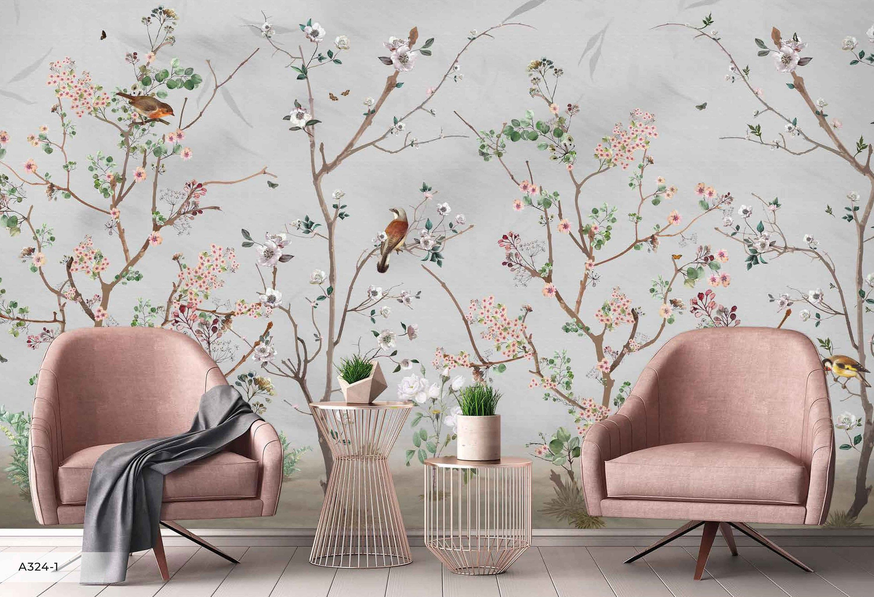 Flowers Birds Floral Background Chinoiserie Wallpaper Self Etsy In 2021 Wallpaper Walls Decor Chinoiserie Wallpaper Wall Wallpaper