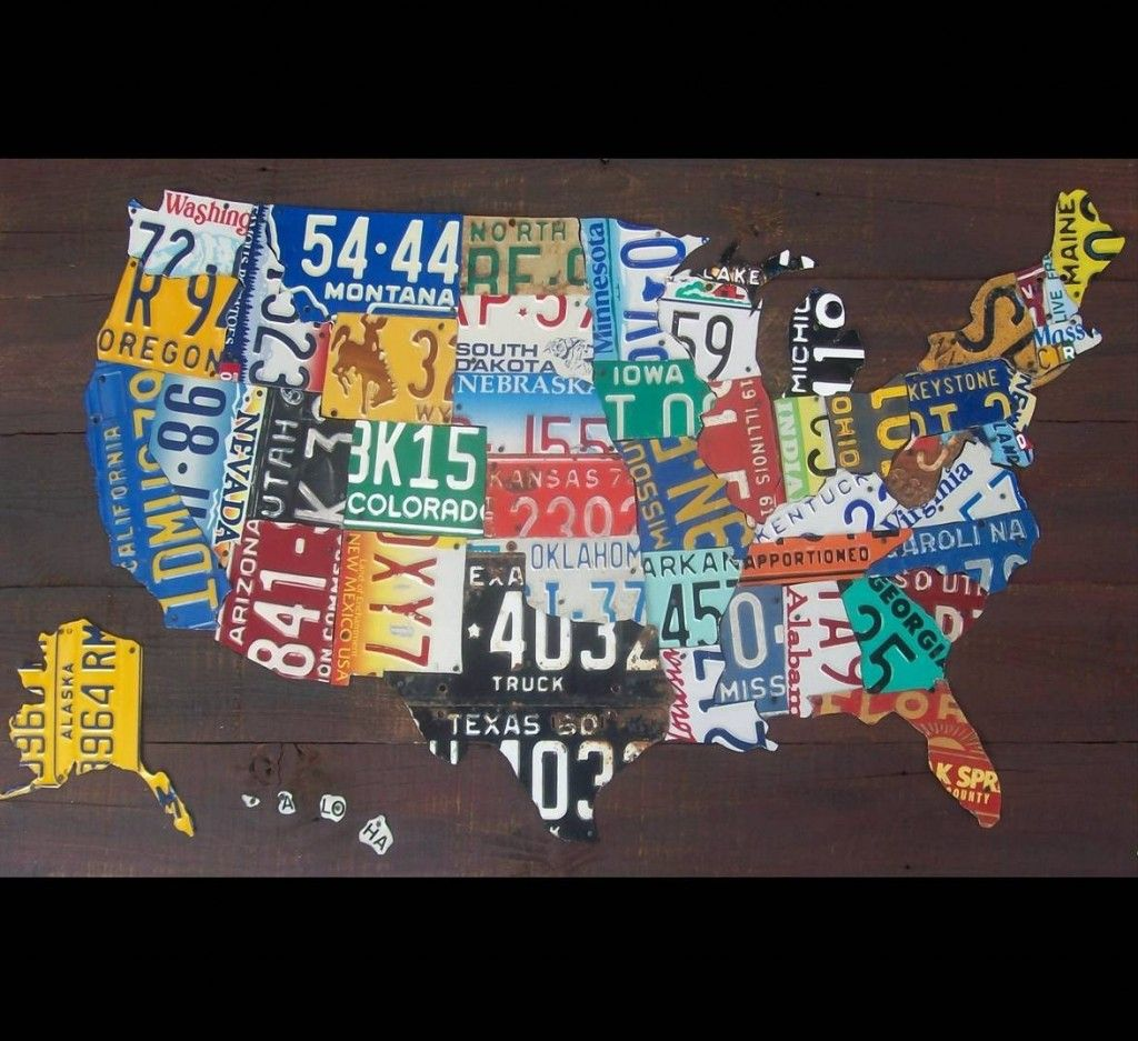 Recycled License Plate Art