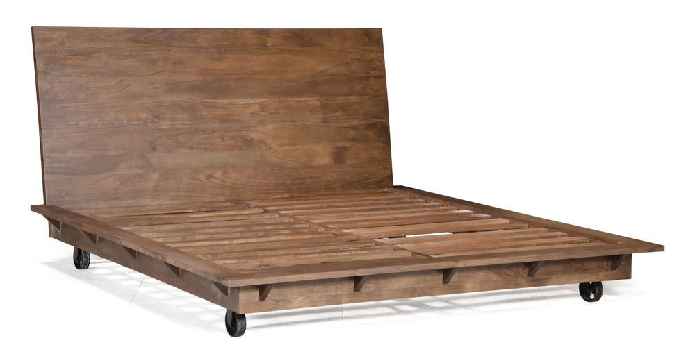 Iron Wood Bed Frame Industrial Vintage Antique Caster Country Base King Queen Eastern King Bed King Platform Bed Frame King Bed Frame