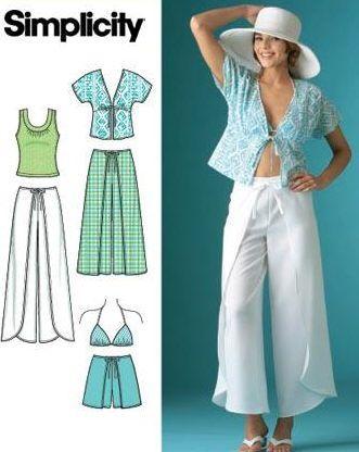 Wrap Pants/Shorts Kimono Top/Shirt/Bra SEWING PATTERN | Pinterest ...