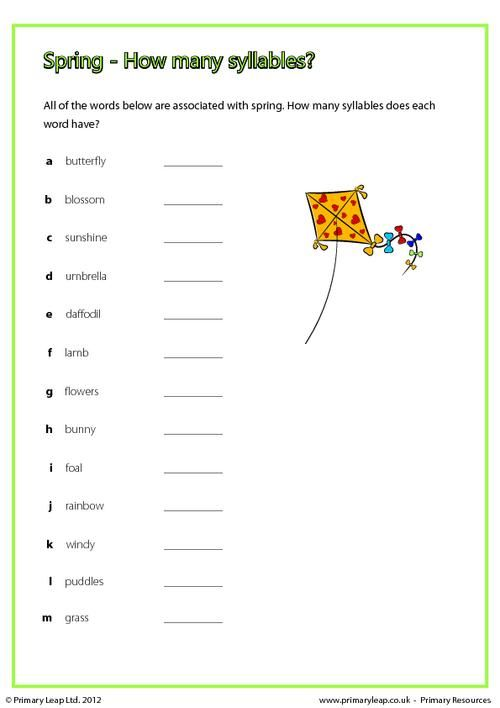 Primaryleap Spring How Many Syllables Worksheet For