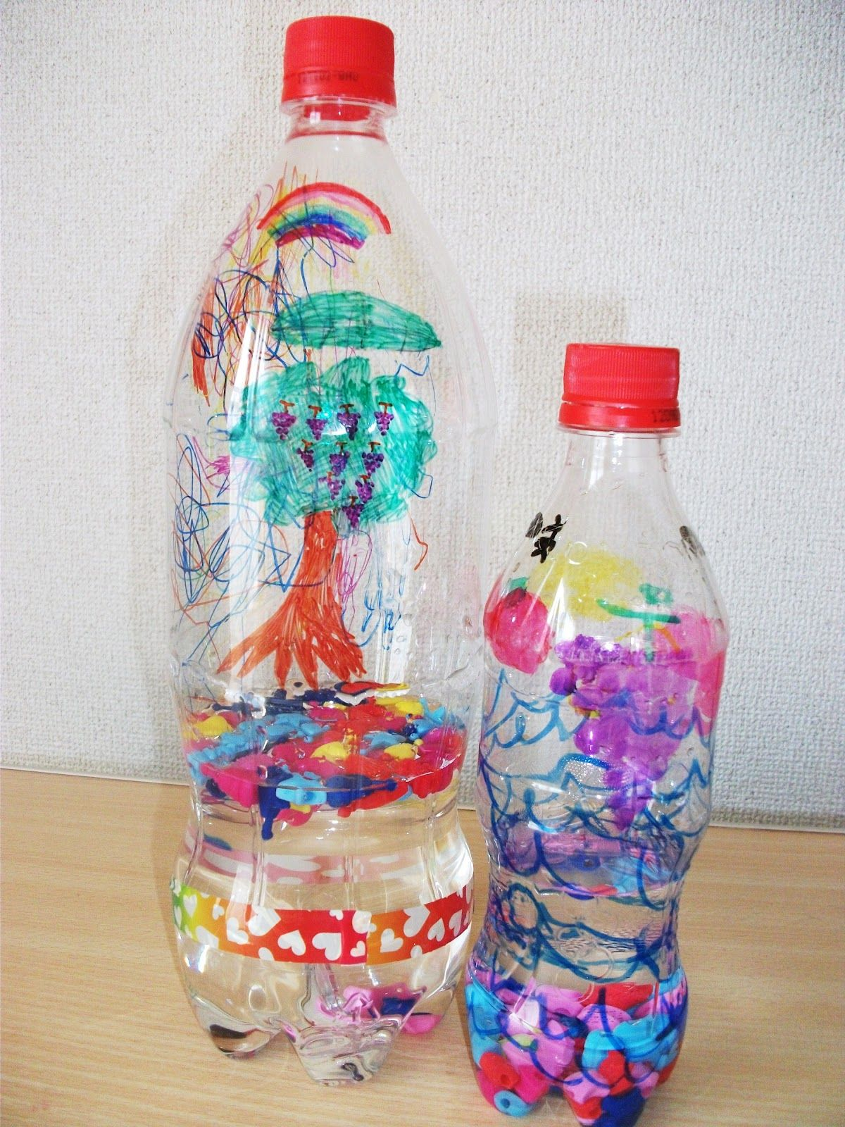 Amazing Water Bottle Craft Ideas For Kids Part - 7: Hereu0026 A Colorful And Quieter Variation On The Typical Bead Bottle Shaker  Craft. Add Water To Make A Water Bottle Shaker Craft.
