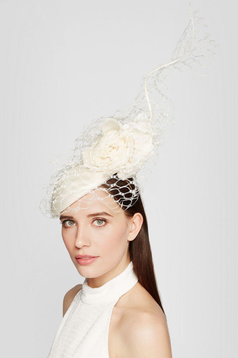 philip treacy   veiled parasisal straw and organza headpiece   net