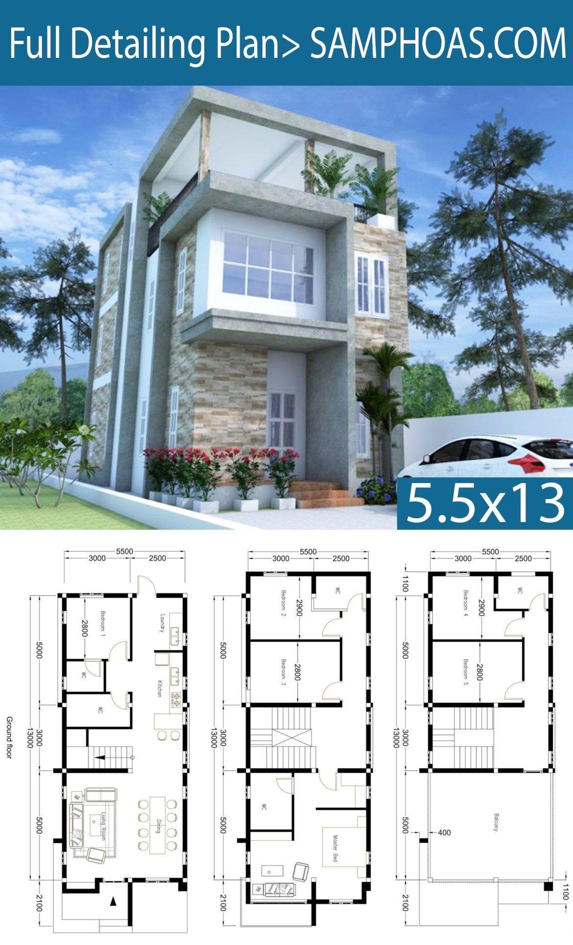 Modern Home Plan 55x13m With 6 Bedroom Samphoas