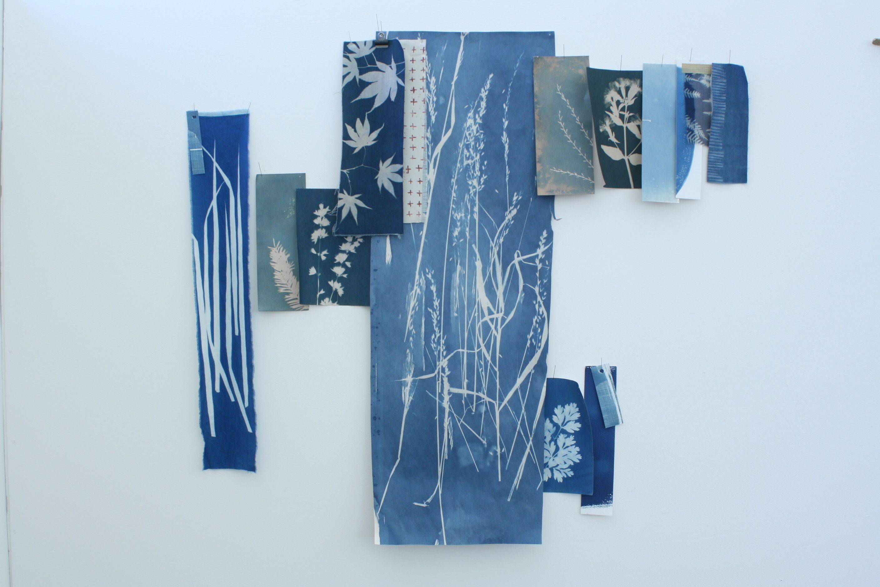 Wall of blue blueprint photogram collage on paper linen and wall of blue blueprint photogram collage on paper linen and cotton malvernweather Image collections
