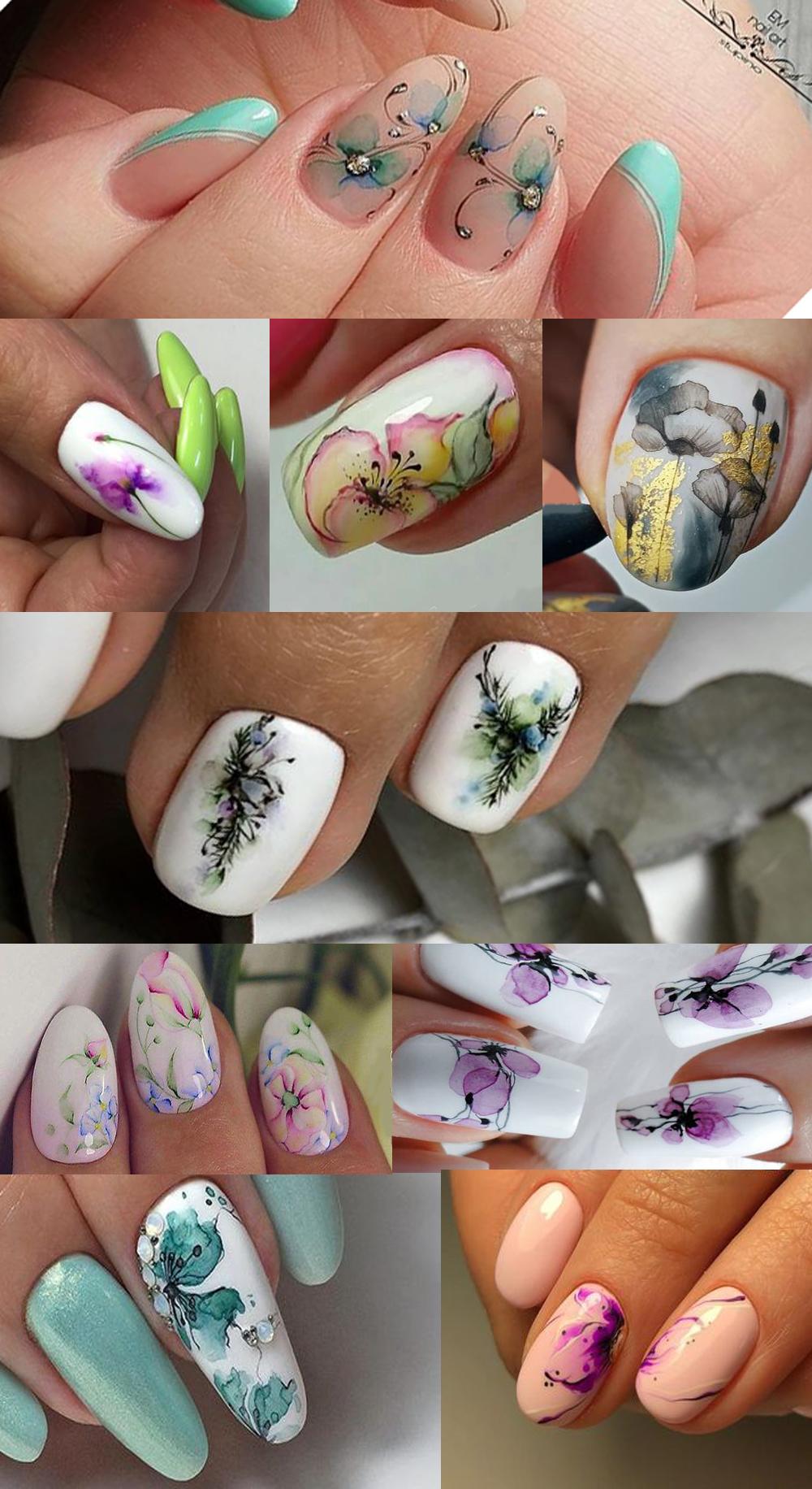 Акварельный маникюр — Красивые ногти (с изображениями) | Ногти ...Нежный маникюр в светлых тонах.